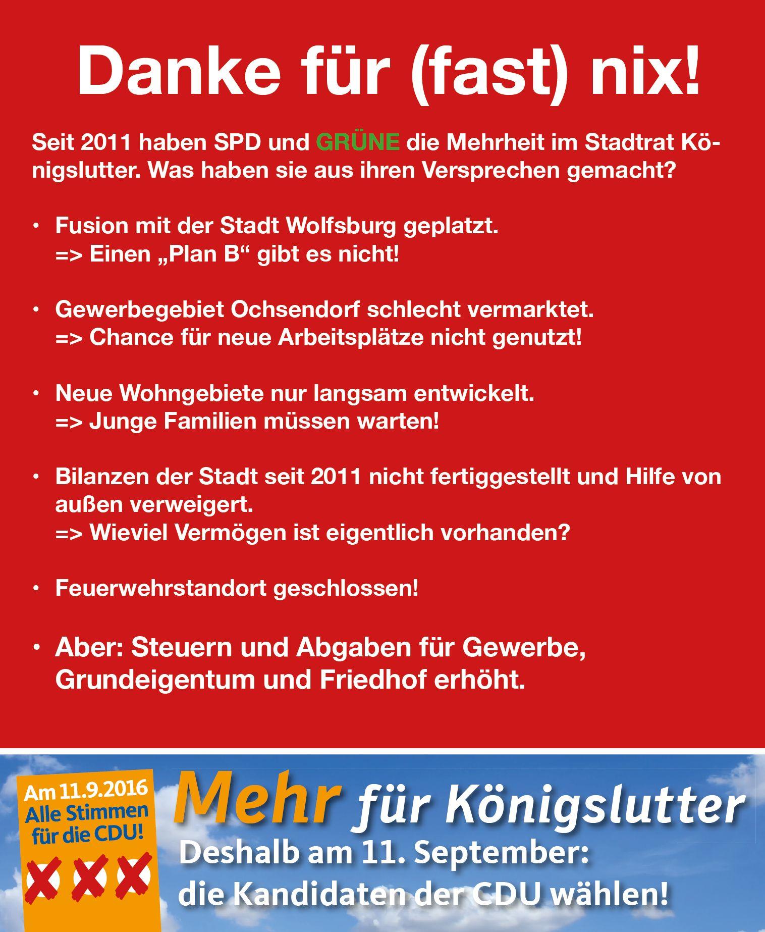 Anzeige der CDU am 4.9.16 im Helmstedter Sonntag